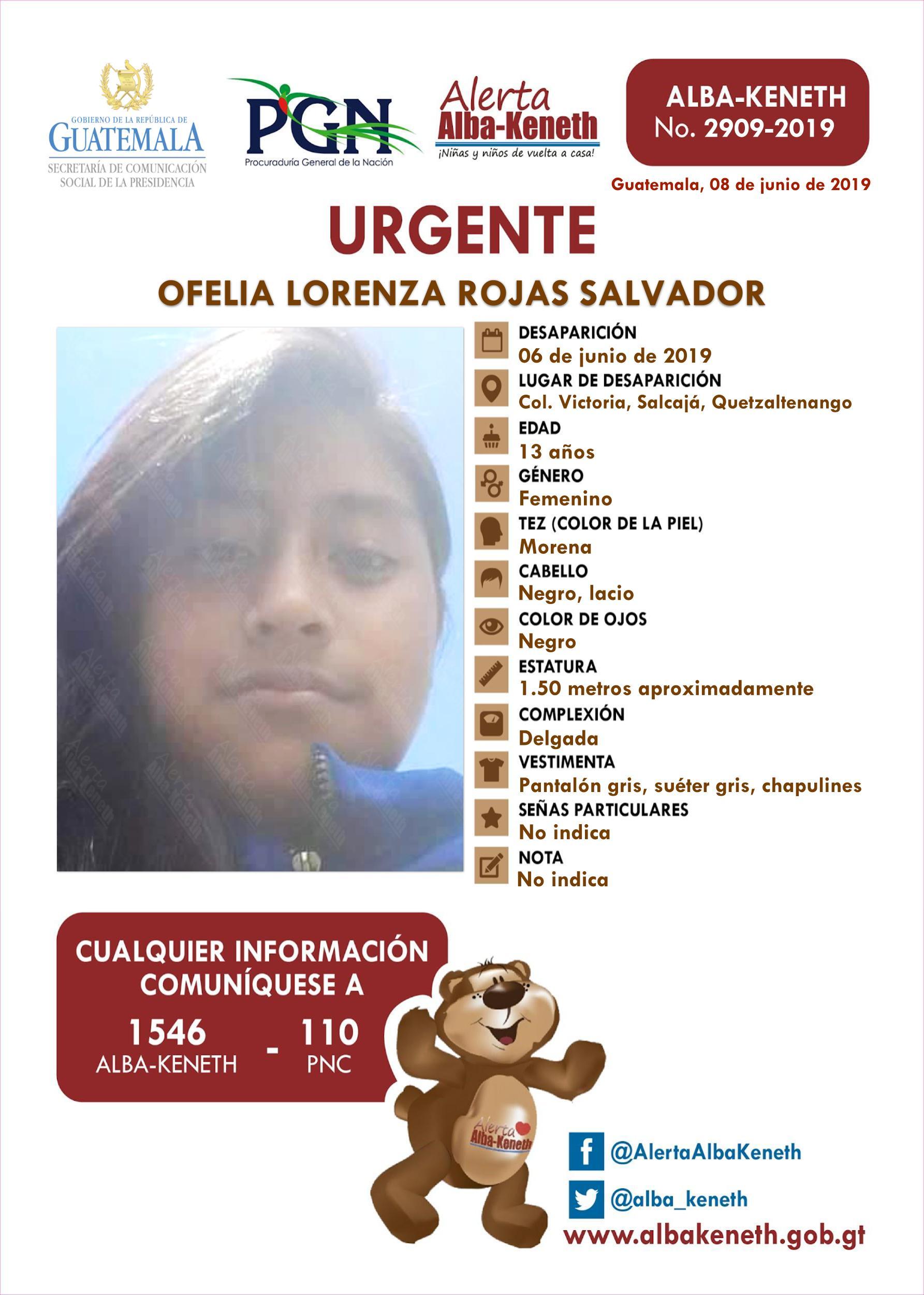 Ofelia Lorenza Rojas Salvador