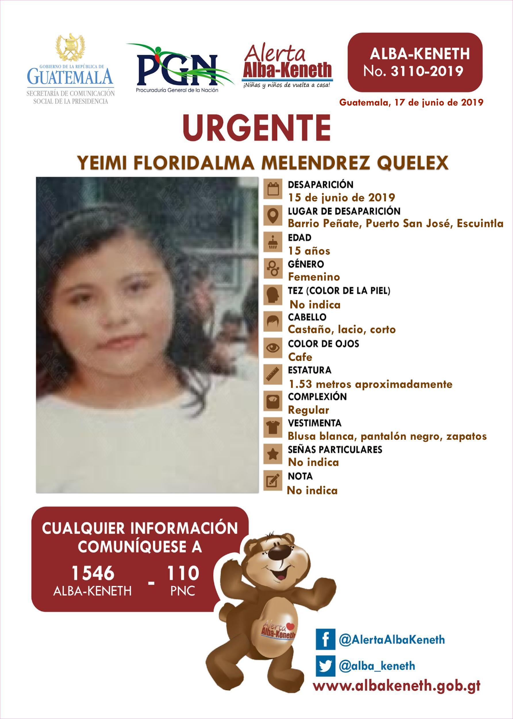 Yeimi Floridalma Melendrez Quelex