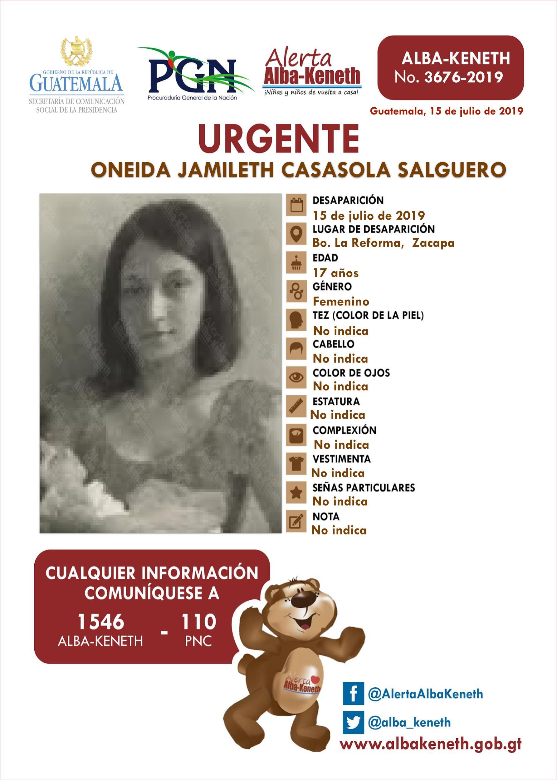 Oneida Jamileth Casasola Salguero