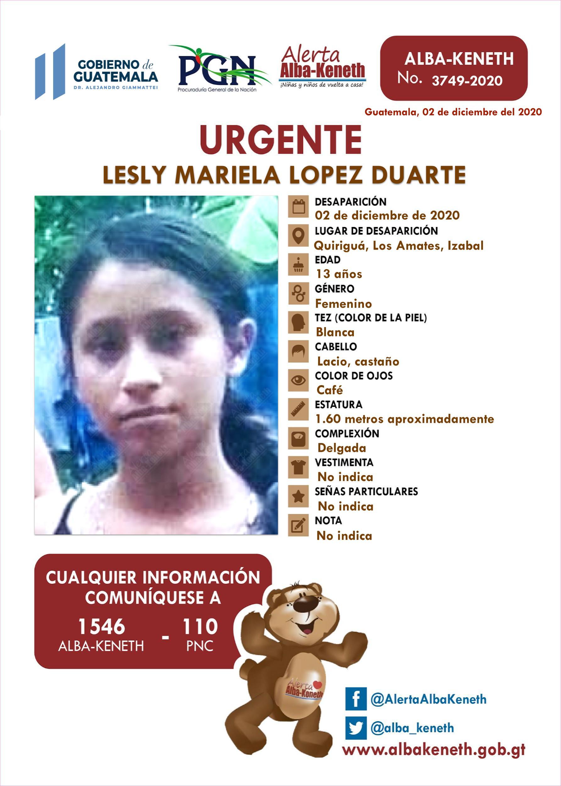 Lesly Mariela Lopez Duarte