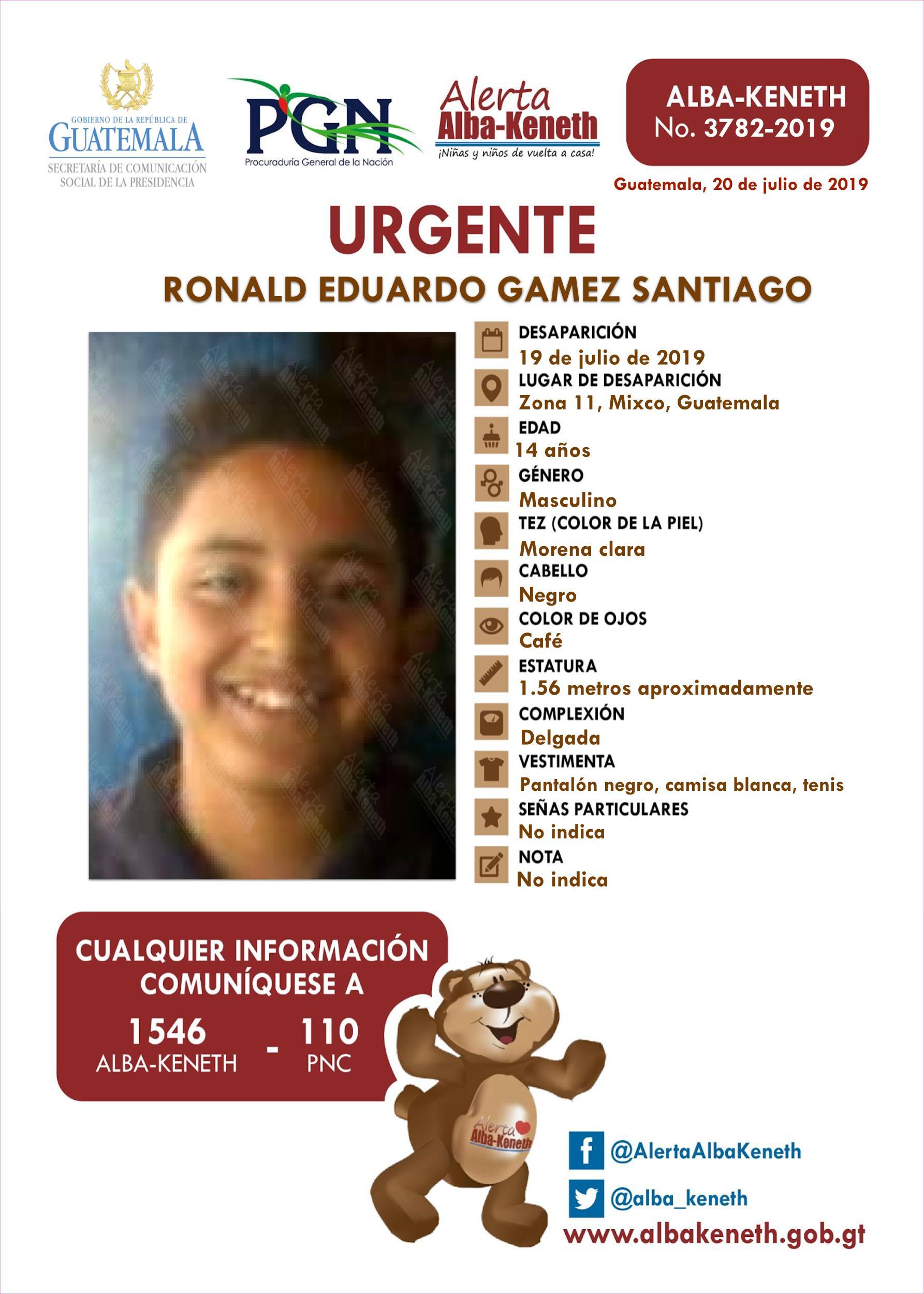 Ronald Eduardo Gamez Santiango
