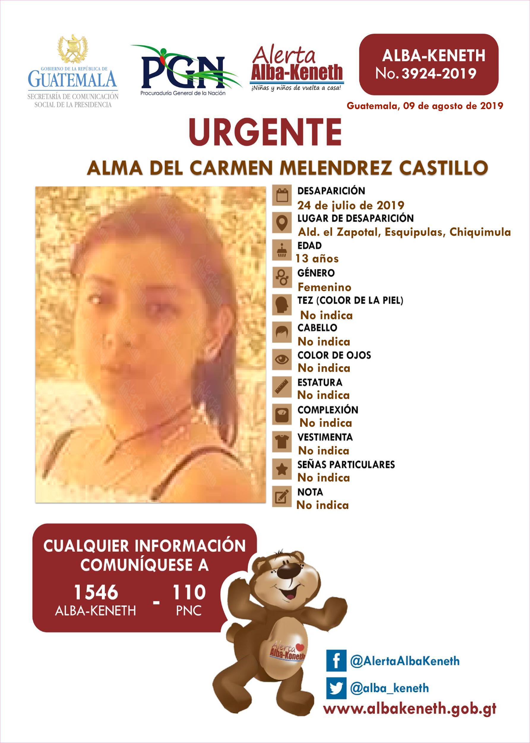 Alma del Carmen Melendrez Castillo